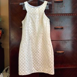 Lilly P Gold White Checkered Jepson Shift Dress